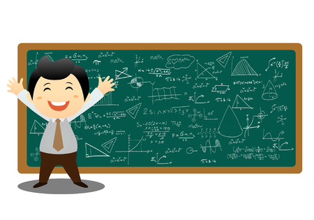 illustration of a man showing graph and math on a white background Vector