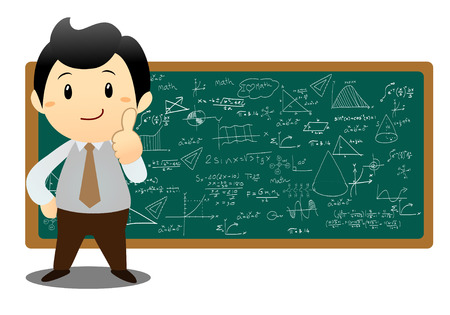 illustration of a man showing graph and math on a white background