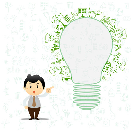 Light bulb idea with creative drawing environment ecology concept Vector