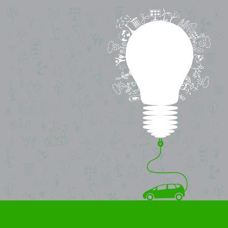 electric car design (light bulb with socket) Illustration