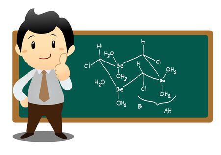 business man showing chemical formula on board Vector