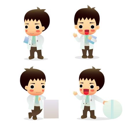 general practitioner: set cute little male doctor Illustration