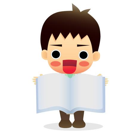 Boy showing book Vector