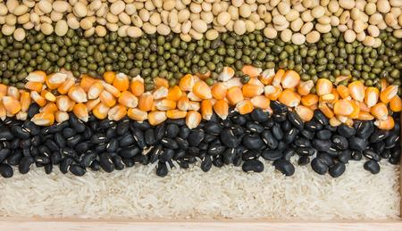 Mixture of dried lentils, peas, Grains, beans background photo