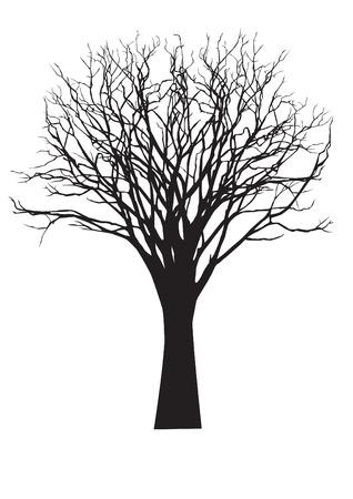 맨 손으로 나무의 벡터 검은 실루엣