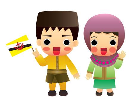 aec: Brunei traditional costume, Asia, ASEAN Illustration