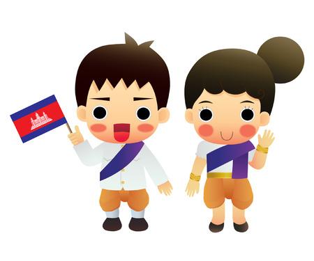 traje: Desenhos animados ASEAN Camboja Ilustração