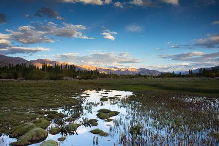 tibetan house: Beautiful scenery, Leh, Ladakh, Jammu and Kashmir, India