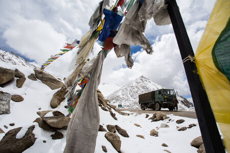 leah: Prayer flag on highest highway Khardungla pass , Leh Ladakh Editorial
