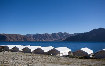 desolation: Tented tourist camp on lake pangong, Ladakh, India