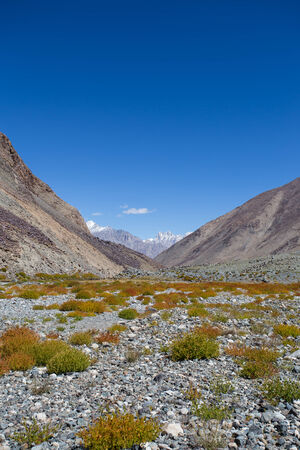 Himalayan landscape in Himalayas along Manali-Leh highway. Himachal Pradesh, India photo