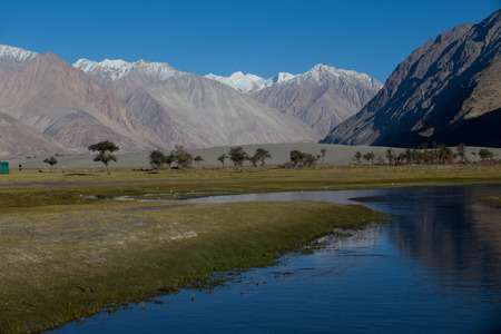 Nubra river in Nubra valley in Himalayas, Hunder, Ladakh, India photo
