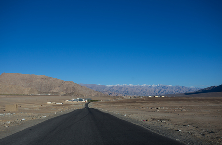 altitude: High altitude road in mountains Stock Photo