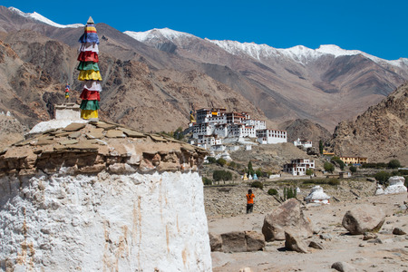 lamaism: White Pagodas with Blue Sky, , in Leh - Ladakh, North of India