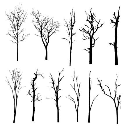 vector zwart silhouet van een kale boom Stock Illustratie