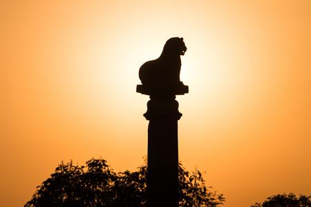 ashoka: sunset Ashoka pillar at Kutagarasala Vihara, Vaishali, Bihar, India