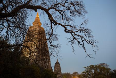 enlightenment: Night Shot. Mahabodhi temple, bodh gaya, India. The site where Gautam Buddha attained enlightenment
