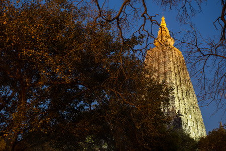 Night Shot. Mahabodhi temple, bodh gaya, India. The site where Gautam Buddha attained enlightenment photo