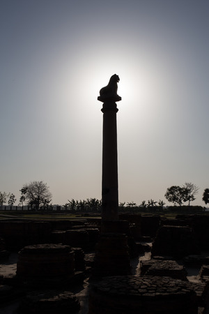 vihara: Ananda Stupa and Ashoka pillar at Kutagarasala Vihara, Vaishali, Bihar, India