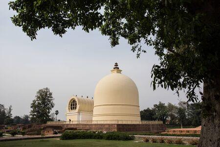 nirvana: pagoda imitating buddha nirvana place in Kushinaga city of India