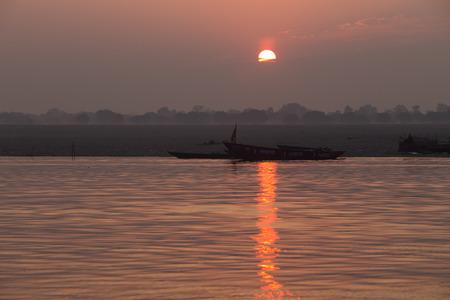 varanasi: Sunrise on the Ganga river, Varanasi, India