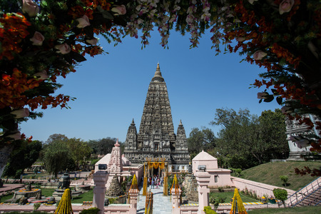 Mahabodhi temple, bodh gaya, India. The site where Gautam Buddha attained enlightenment photo