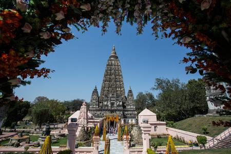 templo: Templo de Mahabodhi, Bodh Gaya, India. El sitio donde Gautama Buda alcanz� la iluminaci�n Foto de archivo