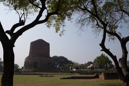 sarnath: Dhamekh Stupa and ruins in Sarnath, India