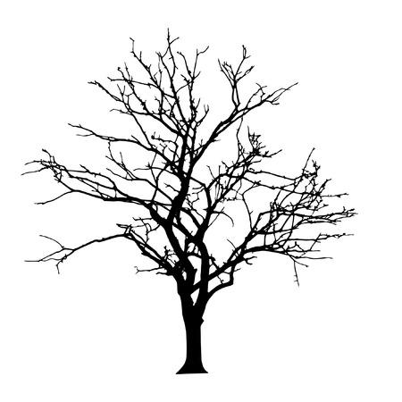 vector black silhouette of a bare tree Stock Illustratie