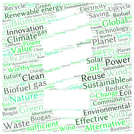 biogas: Ecology Earth concept word collage. Environmental poster design template