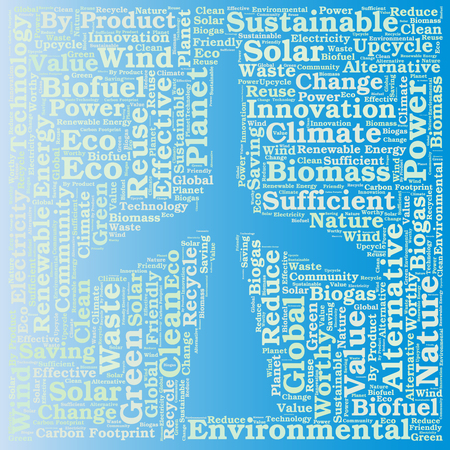 tech background: Renewables or renewable energies concept. Word cloud Illustration