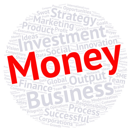 modernization: Business & finance related word cloud background in circle shape Illustration