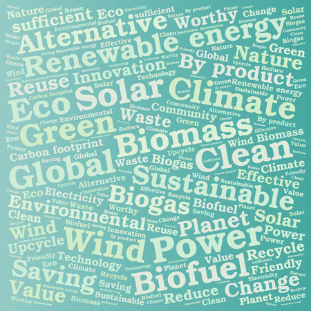 biomass: Ecology Earth concept word collage. Environmental poster design template