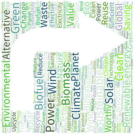 sufficient: Ecology Earth concept word collage. Environmental poster design template