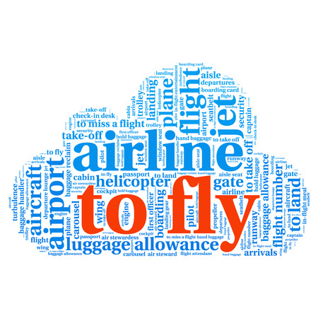 aisle: Airport info-text graphics and arrangement concept (word cloud)