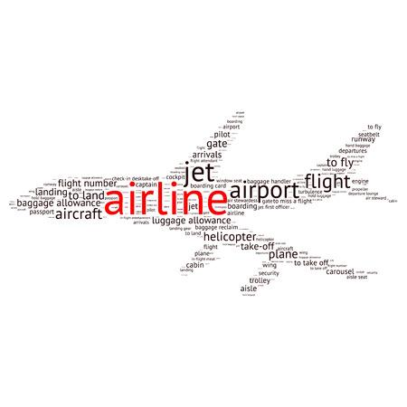 flight steward: Airport info-text graphics and arrangement concept (word cloud)