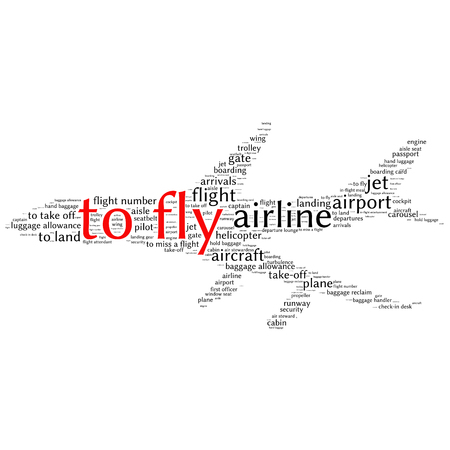 turbulence: Airport info-text graphics and arrangement concept (word cloud)