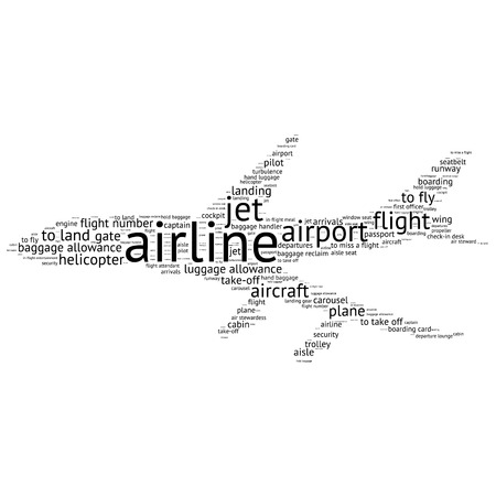 seatbelt: Airport info-text graphics and arrangement concept (word cloud)
