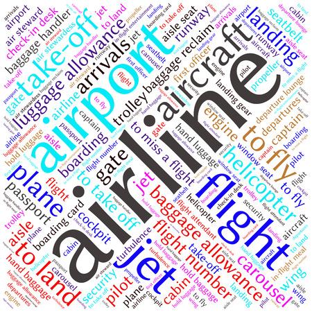 cabin attendant: Airport info-text graphics and arrangement concept (word cloud)