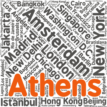 Cities in the World related word cloud background Vector