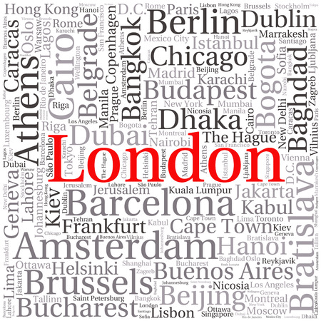 cape town: Cities in the World related word cloud background