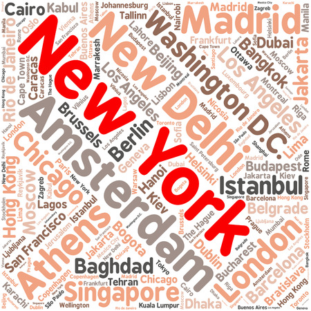 the hague: Cities in the World related word cloud background