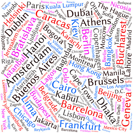 montreal: Cities in the World related word cloud background