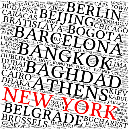 Cities in the World related word cloud background
