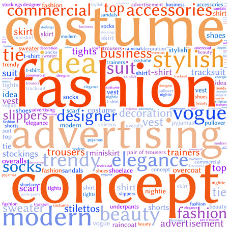 miniskirt: fashion and costume tag word cloud background. Illustration