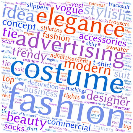 fashion and costume tag word cloud background. Illustration