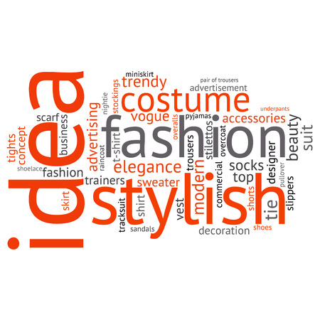 cloud background: fashion and costume tag word cloud background. Illustration
