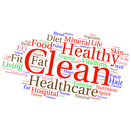 words cloud: words cloud related to healthy lifestyle