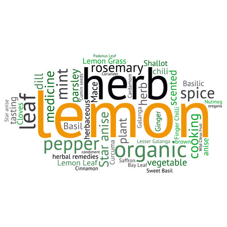 lemon grass: herb tag word cloud background Illustration