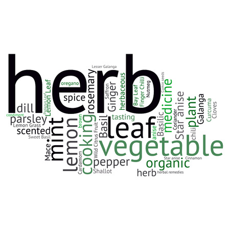 lemon grass: herb tag word cloud background Illustration